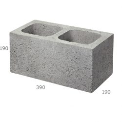 Besser Block Full 390 x 190 x 190 Masonry Concrete Hollow Grey Block
