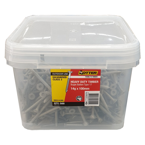 Batten Screws Galvanised Bugle 14g x 100mm OTTER Box of 500