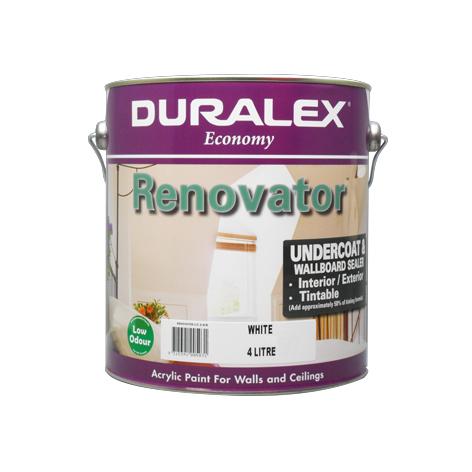 Renovator Undercoat Paint Wallboard Sealer Duralex White 4 Litre Duralex