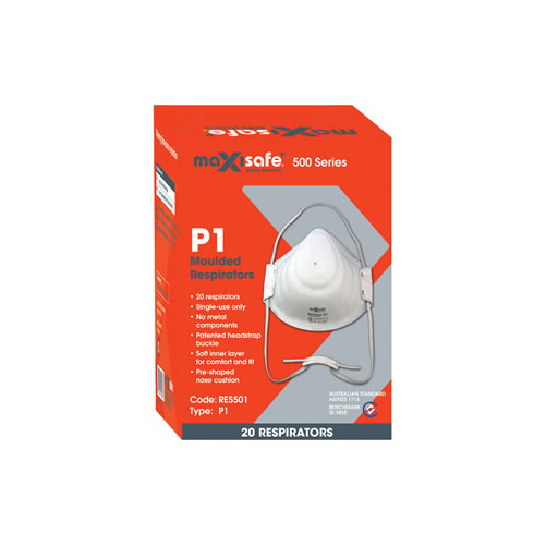 Dust Mask P1 Respirator RES501 20 Pack Maxisafe