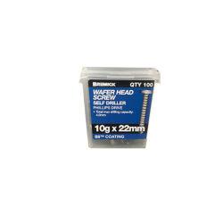Wafer Head Screw 10g x 22mm B8 Metal Screws Box of 100